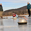 KRISTOPHER RADDER — BRATTLEBORO REFORMER<br /> Saskia Bailey DeBruijn, of Brattleboro, Vt., slips on the ice after sliding the hammer during a curling match at the Retreat Meadows on Wednesday, Jan. 2, 2019.