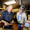 "Jonas Ceelen, of Boulder, left, explains how to make a head stock for a guitar to Terry Kenyon, of Boulder, on Tuesday, Jan. 24, at the Jonas Guitar shop at 7648 Arapahoe Rd. in Boulder. For a video of the guitar building process go to  <a href=""http://www.dailycamera.com"">http://www.dailycamera.com</a><br />  Jeremy Papasso/ Camera"