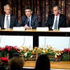 Nobel Laureates from left,  from the US, Alvin Roth for Economics, Brian K. Kobilka, Robert Lefkowitz for Chemistry, and David Wineland, and Serge Haroche, from France, for physics,  during a news conference, in Stockholm, Sweden, Friday, Dec. 7, 2012. (AP Photo/Bertil Enevag Ericson) SWEDEN OUT