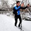 Andy Nelson cross country skis next to the Boulder Creek Path by the Boulder Library Main Branch on Thursday December 22, 2011<br /> Photo by Paul Aiken