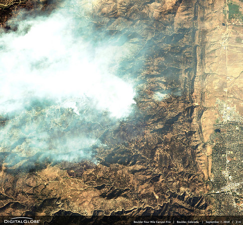 DIGITALGLOBE FIRE PHOTOS<br /> <br /> Boulder Fourmile canyon fire, Boulder, Colorado, USA<br /> <br /> Boulder Fourmile Canyon Fire, Boulder, Colorado, USA-September 7, 2010: This is a satellite image of the fire above Boulder along Fourmile Canyon and Gold Hill areas. (credit: DigitalGlobe)