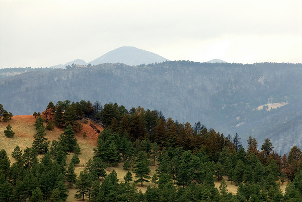 "A slurry bomber strike is seen on the side of a hlll as seen from Bristlecone Way at the top of Pine Brook Hills. <br /> Photos by Jeff Orlowski  <a href=""http://www.jefforlowski.com"">http://www.jefforlowski.com</a>"