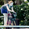 "Danielle Duncan tries but can't convince Sage that she should jump off the diving board during Dog Dayz at Scott Carpenter Pool in Boulder<br /> on Friday, September 9, 2011. FOR MORE PHOTOS AND A VIDEO FROM DOG DAYZ GO TO  <a href=""http://WWW.DAILYCAMERA.COM"">http://WWW.DAILYCAMERA.COM</a><br /> Photo by Paul Aiken / The Camera / September 6 2011"