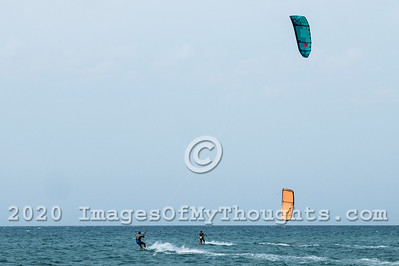 Kite surfers enjoy the Mediterranean beach of Ashdod