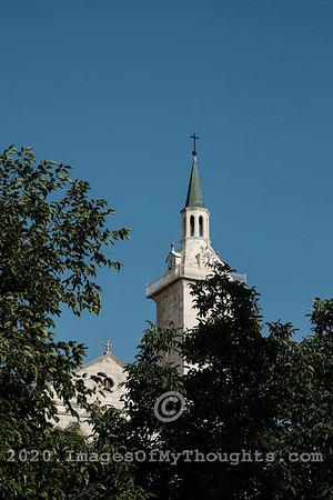 A view of the bell tower above Yochanan Baharim Franciscan Church in Ein-Karem, Jerusalem. St. John BaHarim, or Yochanan BaHarim in Hebrew, is the tradition birthplace of John the Baptist.