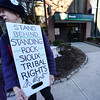 KRISTOPHER RADDER - BRATTLEBORO REFORMER<br /> A group of a 100 protesters gather at the TD Bank on Main Street in Brattleboro, Vt., on Wednesday, Feb 22, 2017, as they protest the bank's investment in the Dakota Access Pipeline. Tim Stevenson, Li Pon Owen, and Daniel Sicken, were arrested after barricading themselves in the entryway of the bank.