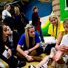 Garrison Hayes, 10, a patient whose cancer has been in remission for four years, shows CU sophomores Anna Zook (left) Kelly Hilton (center) and Maddie Baker his ankle that acts as his knee joint during the Seventh Annual Dance Marathon for the Children's Hospital at the CU Recreation Center in Boulder, Saturday, Nov. 14, 2009. The 10-hour event included CU students who helped raise money for the Children's Miracle Network as well as the patients themselves.  <br /> <br /> KASIA BROUSSALIAN / THE CAMERA