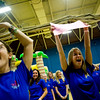 (From left to right) CU sophomore Abby Berman, junior Nikki McNamara, and sophomore Jessica Freeman cheer as they wait for patient Gabby Bayless during the Seventh Annual Dance Marathon for the Children's Hospital at the CU Recreation Center in Boulder, Saturday, Nov. 14, 2009. The 10-hour event included CU students who helped raise money for the Children's Miracle Network as well as the patients themselves.  <br /> <br /> KASIA BROUSSALIAN / THE CAMERA