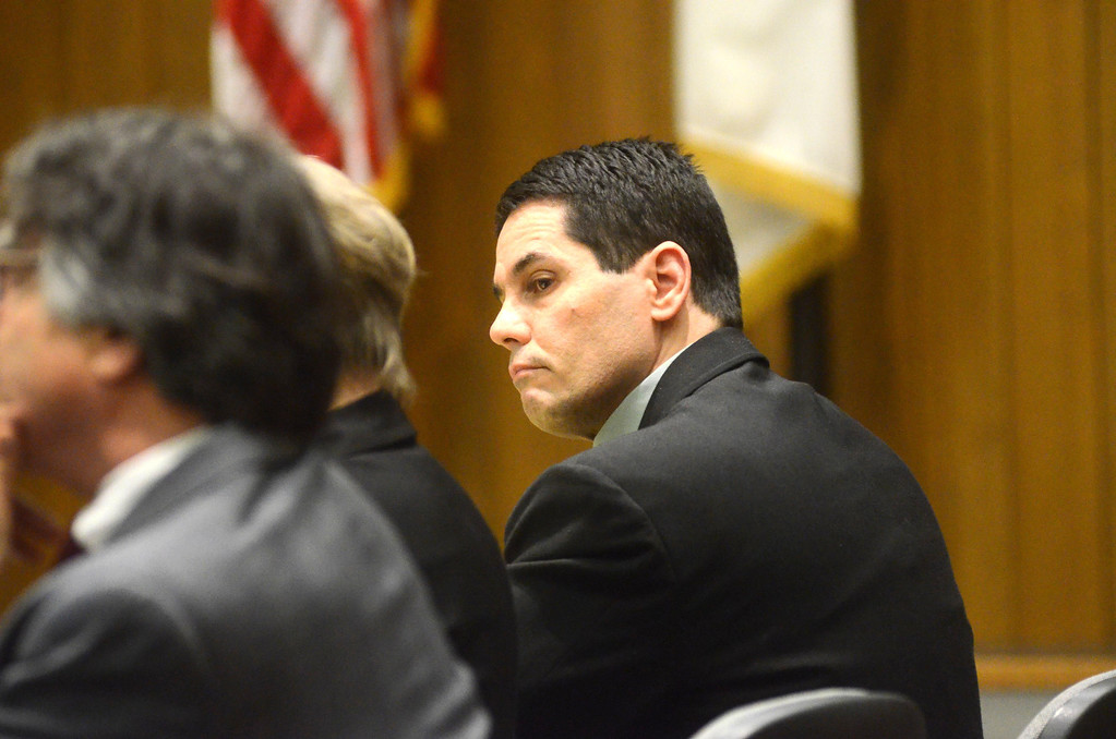 . David Chalue listens to witness testimony in his trial in Hampden Superior Court in Springfield on Tuesday, April, 30, 2014. Gillian Jones / Berkshire Eagle Staff / photos.berkshireeagle.com