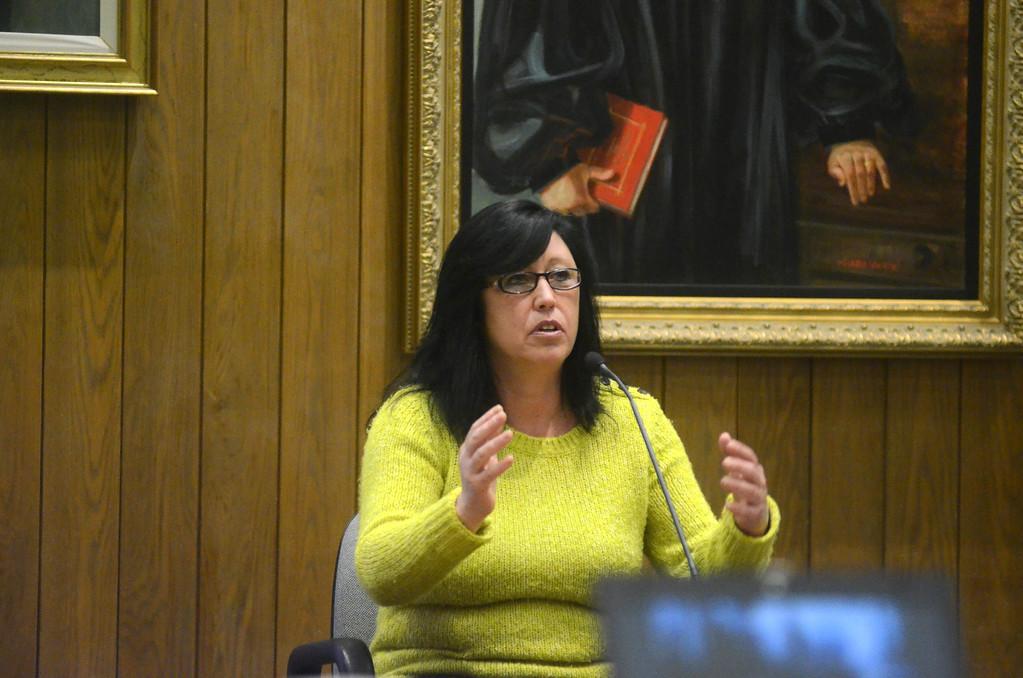 . Ellyn Smith testifies in the David Chalue triple murder trial in Hampden Superior Court in Springfield on Tuesday, April, 30, 2014. Gillian Jones / Berkshire Eagle Staff / photos.berkshireeagle.com