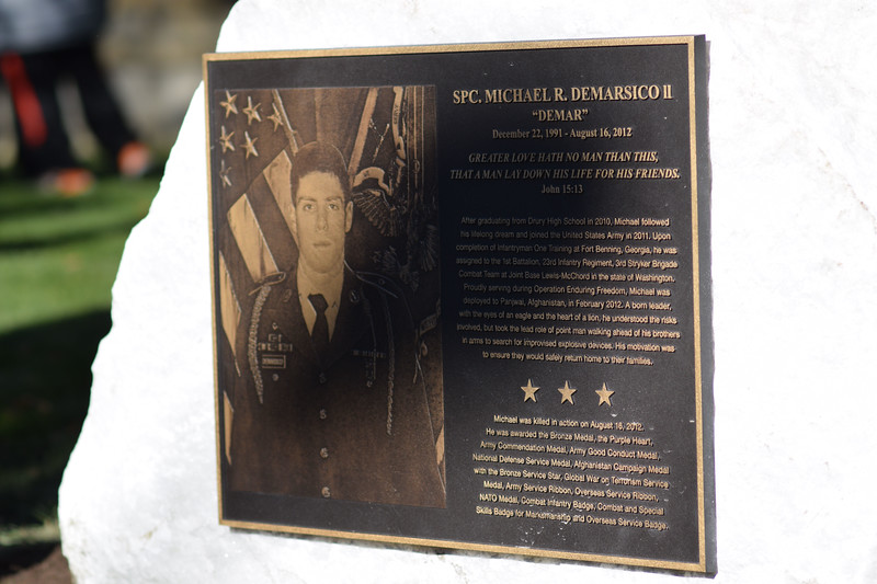 ADAM SHANKS — THE BERKSHIRE EAGLE<br /> A plaque honoring Army Specialist Michael DeMarsico II was unveiled outside the North Adams Armory building on Saturday.