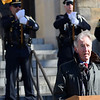 ADAM SHANKS — THE BERKSHIRE EAGLE<br /> Rep. Richard Neal, D—Springfield, speaks at the ceremony dedicating the North Adams Armory to Army Specialist Michael DeMarsico II on Saturday.