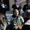 ADAM SHANKS — THE BERKSHIRE EAGLE<br /> Pastor Dave Anderson speaks at the ceremony dedicating the North Adams Armory to Army Specialist Michael DeMarsico II on Saturday.