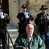 ADAM SHANKS — THE BERKSHIRE EAGLE<br /> Mayor Richard Alcombright speaks at the ceremony dedicating the North Adams Armory to Army Specialist Michael DeMarsico II on Saturday.