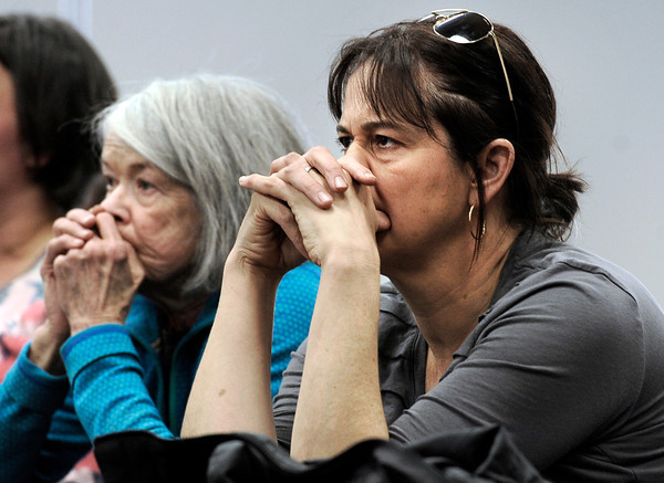 "Boulder residents Mary Lee Withers, left, and Nancy Kornblum, listen carefully to the words of Boulder Police Chief Mark Beckner, not pictured, during  a community meeting on Monday, Jan. 7, at the Boulder Public Safety building in Boulder. For more photos and video of the meeting go to  <a href=""http://www.dailycamera.com"">http://www.dailycamera.com</a><br /> Jeremy Papasso/ Camera"