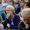 "Mapelton Hill resident Judy Reid listens to Boulder Police Chief Mark Beckner talk during  a community meeting on Monday, Jan. 7, at the Boulder Public Safety building in Boulder. For more photos and video of the meeting go to  <a href=""http://www.dailycamera.com"">http://www.dailycamera.com</a><br /> Jeremy Papasso/ Camera"