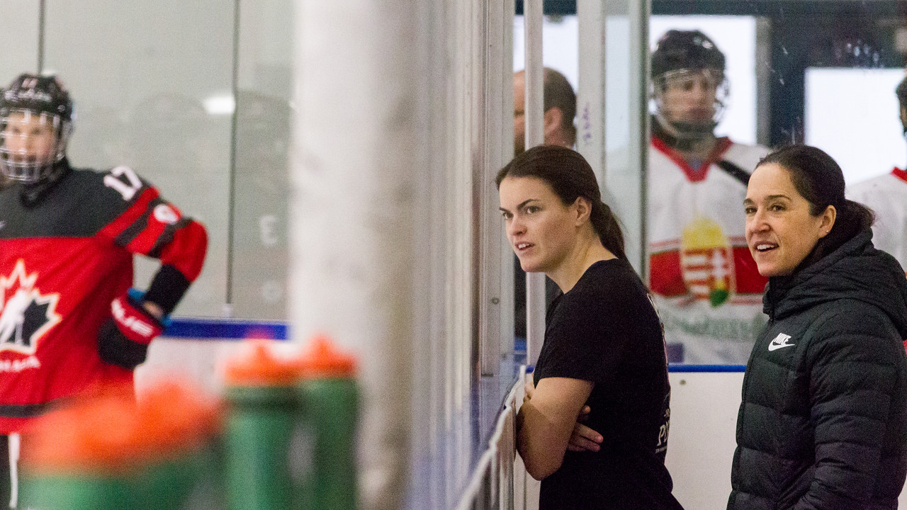 December 31, 2017 - Calgary, AB - Mac's Tournament Exhibition Hockey. Canada's National Women's Olympic Team and Hungary's National U18 Men's Team met for an exhibition game during the 2017-2018 Mac's AAA Midget Hockey Tournament held at the Max Bell Centre Arena's. Canada's Blayre Turnbull looks on during team warm-ups.