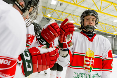 December 31, 2017 - Calgary, AB - Mac's Tournament Exhibition Hockey. Canada's National Women's Olympic Team and Hungary's National U18 Men's Team met for an exhibition game during the 2017-2018 Mac's AAA Midget Hockey Tournament held at the Max Bell Centre Arena's. Horváth Milán celebrates a goal with the Hungary team bench.