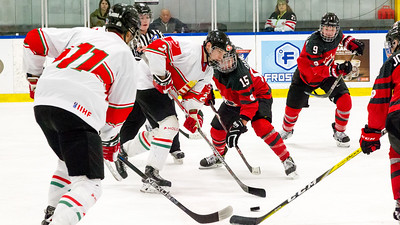 December 31, 2017 - Calgary, AB - Mac's Tournament Exhibition Hockey. Canada's National Women's Olympic Team and Hungary's National U18 Men's Team met for an exhibition game during the 2017-2018 Mac's AAA Midget Hockey Tournament held at the Max Bell Centre Arena's.