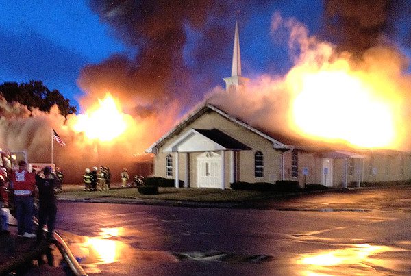 Fire destroyed the Lebanon Church of The Nazarene on Aug. 15, 2012.
