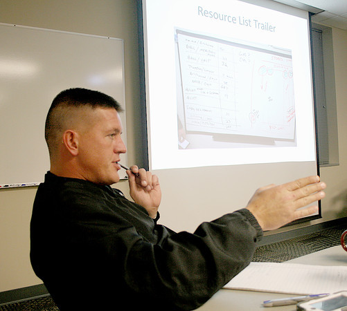 Reporter photo by Rod Rose<br /> Lebanon Fire Chief Jason Lee discusses the multi-agency response to the Nov. 17 tornado during a debriefing Tuesday.