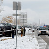 "Drivers wait for their cars to be towed.<br /> Icy roads caused a 5-car accident on the diagonal north of Boulder and south of Jay Road Thursday morning. There were no injuries reported.<br /> For a video and more photos, go to  <a href=""http://www.dailycamera.com"">http://www.dailycamera.com</a>.<br /> Cliff Grassmick  / October 25, 2012"