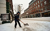 KRISTOPHER RADDER - BRATTLEBORO REFORMER<br /> Theron Wilkinson, 13, shovels the sidewalk in front of his parent's business on Main Street during Monday's snow storm.