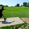 """Eagle McMahon, 14 of Boulder, tees off Saturday morning at the 5th annual Disc Golf Tournament. The tournament was held at Harlow Platts Park. Rachel Woolf/ For the Daily Camera<br /> For more photos and a video of the tournament, go to  <a href=""""http://www.dailycamera.com"""">http://www.dailycamera.com</a>"""