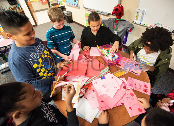 Dixie Elementary School students make Valentine's Day cards for veterans during school on Feb. 7, 2020. The project was set up through a partnership with Hospice of East Texas.  (Sarah A. Miller/Tyler Morning Telegraph)