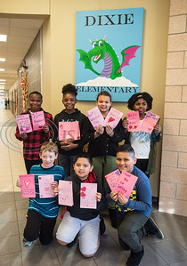 Dixie Elementary School students show off Valentine's Day cards they made for veterans at their school on Feb. 7, 2020. The project was set up through a partnership with Hospice of East Texas.  (Sarah A. Miller/Tyler Morning Telegraph)