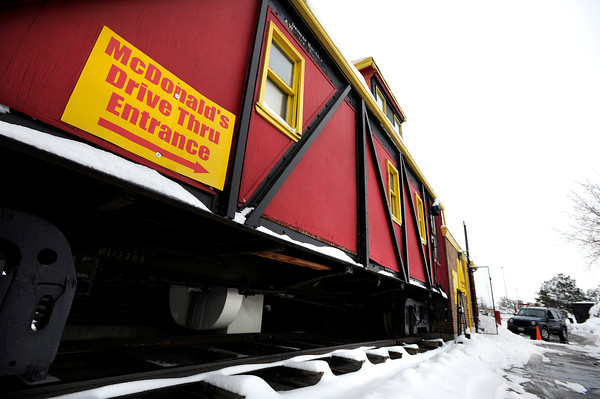 "An old train is part of the double drive-thru on Friday, Feb. 3, at the McDonalds on 28th Street in Boulder. For a video about why a new McDonalds is being built go to  <a href=""http://www.dailycamera.com"">http://www.dailycamera.com</a><br /> Jeremy Papasso/ Camera"