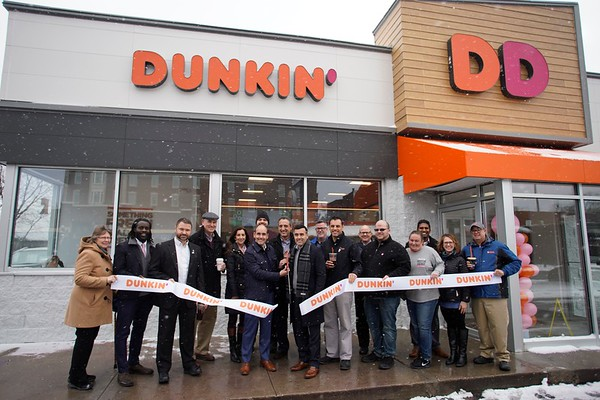 BEN GARVER — THE BERKSHIRE EAGLE<br /> The new Dunkin' on First Street in Pittsfield opened Wednesday, January 10, 2019. The new restaurant offers the region's first look at the brand's new stores, with a modern atmosphere and new and innovative technologies and design elements -- including the first drive-thru exclusively for mobile ordering -- to make running on Dunkin' faster than ever before.