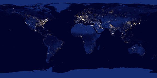 "NASA NIGHT PHOTOS<br /> This new image of the Earth at night is a composite assembled from data acquired by the Suomi National Polar-orbiting Partnership (Suomi NPP) satellite over nine days in April 2012 and thirteen days in October 2012. It took 312 orbits and 2.5 terabytes of data to get a clear shot of every parcel of Earth's land surface and islands.<br /> The nighttime view of Earth was made possible by the ""day-night band"" of the Visible Infrared Imaging Radiometer Suite. VIIRS detects light in a range of wavelengths from green to near-infrared and uses filtering techniques to observe dim signals such as gas flares, auroras, wildfires, city lights, and reflected moonlight. In this case, auroras, fires, and other stray light have been removed to emphasize the city lights."