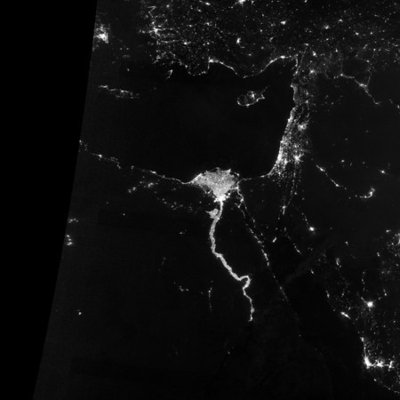 NASA NIGHT PHOTOS<br /> The Nile River Valley and Delta comprise less than 5 percent of Egypt's land area, but provide a home to roughly 97 percent of the country's population. Nothing makes the location of human population clearer than the lights illuminating the valley and delta at night.