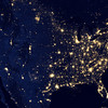 "NASA NIGHT PHOTOS<br /> This image of the United States of America at night is a composite assembled from data acquired by the Suomi NPP satellite in April and October 2012. The image was made possible by the new satellite's ""day-night band"" of the Visible Infrared Imaging Radiometer Suite (VIIRS), which detects light in a range of wavelengths from green to near-infrared and uses filtering techniques to observe dim signals such as city lights, gas flares, auroras, wildfires, and reflected moonlight."