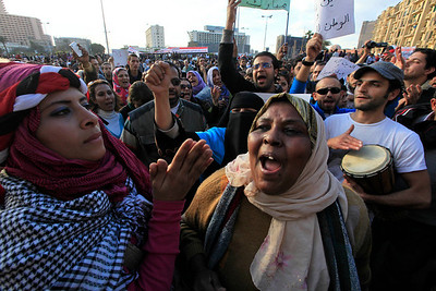 People chant anti-government slogans during a protest in the capital's central Tahrir, or Liberation, Square, Cairo, Egypt, Monday Jan. 31, 2011. A coalition of opposition groups called for a million people to take to Cairo's streets Tuesday to ratchet up pressure for President Hosni Mubarak to leave. (AP Photo/Amr Nabil)