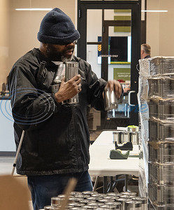 Tony Thompson of Tyler, who is blind, volunteers at the East Texas Food Bank with others from the East Texas Lighthouse for the Blind (ETLB) on Monday, Nov. 25, 2019. East Texas Lighthouse for the Blind is a 501c3 non-profit organization, which was created in 1976 to serve the needs of the blind and visually impaired. The mission of The Lighthouse is to empower blind Americans through rehabilitation, education, training, and employment leading to a fully independent lifestyle.   (Sarah A. Miller/Tyler Morning Telegraph)