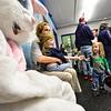 KRISTOPHER RADDER — BRATTLEBORO REFORMER<br /> Horace Blood looks upon the Easter bunny.