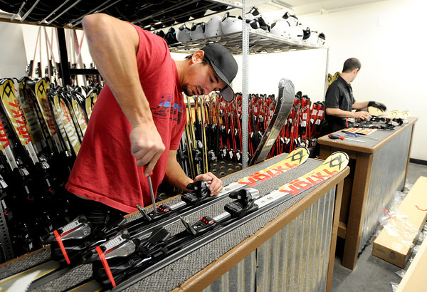 "Ben Verrill, left, and Drew Villa, prepare new skis at the Eldora rental area on Thursday.<br /> Eldora Mountain Resort will open on Friday November 16, 2012.<br /> For more photos and a video from Eldora, go to  <a href=""http://www.dailycamera.com"">http://www.dailycamera.com</a><br /> Cliff Grassmick  / November 15, 2012"