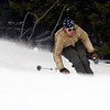 "Karl Hudnut, of Eldora, leans into a turn while skiing on opening day on Friday, Nov. 16, at Eldora Mountain Resort. For more photos and video of opening day go to  <a href=""http://www.dailycamera.com"">http://www.dailycamera.com</a><br /> Jeremy Papasso/ Camera"