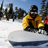 "Eric Anielski, 39, of Nederland, straps in his bindings before hitting the slopes during the opening day of Eldora Ski Resort on Friday, Nov. 19, in Nederland.<br /> For more photos and video of opening day go to  <a href=""http://www.dailycamera.com"">http://www.dailycamera.com</a><br /> Jeremy Papasso"