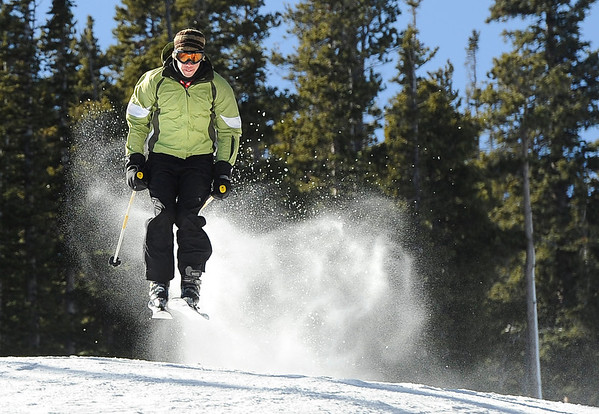 "Barbu Panaitescu, of Lafayette, catches some air on Friday, Nov. 18, during Eldora Mountain Resort's opening day. For more photos and video of opening day go to  <a href=""http://www.dailycamera.com"">http://www.dailycamera.com</a><br /> Jeremy Papasso/ Camera"