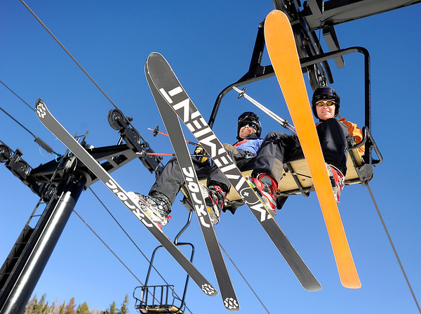 "Jim Hickman, of Allenspark, right, and Mike Overly, of Lyons, ride the chairlift together on Friday, Nov. 18, during Eldora Mountain Resort's opening day. For more photos and video of opening day go to  <a href=""http://www.dailycamera.com"">http://www.dailycamera.com</a><br /> Jeremy Papasso/ Camera"