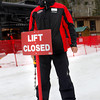"James Henson places the 'Lift Closed' sign in the snow after the last run of the season at Eldora Mountain Resort Sunday, April, 15, 2012, Boulder.<br /> Photo by Derek Broussard<br /> For more photos and video visit  <a href=""http://www.dailycamera.com"">http://www.dailycamera.com</a>"