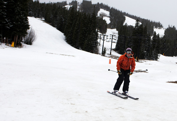"Vickie Alexander finishes her run at Eldora Mountain Resort on the last day of the season on Sunday, April, 15, 2012, Boulder.<br /> Photo by Derek Broussard<br /> For more photos and video visit  <a href=""http://www.dailycamera.com"">http://www.dailycamera.com</a>"