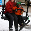 "Kelley Wyjad, left, and her son Colby Wyjad, 4, right, ride the left at the bunny slope on Eldora Mountain Resort during the last day of the season at on Sunday, April, 15, 2012, Boulder. <br /> Photo by Derek Broussard<br /> For more photos and video visit  <a href=""http://www.dailycamera.com"">http://www.dailycamera.com</a>"