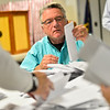 KRISTOPHER RADDER — BRATTLEBORO REFORMER<br /> Wayne Gallagher, Selectmen for the town of Hinsdale, N.H., and others hand count hundreds of ballots during the 2018 Midterm elections on Tuesday, Nov. 6.