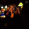 KRISTOPHER RADDER — BRATTLEBORO REFORMER<br /> Sara Coffey joins others at McNeill's Brewery, on Elliot Street, in Brattleboro, to cheer on various democratic candidates as results start to come in during the 2018 Midterm elections on Tuesday, Nov. 6.