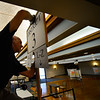 KRISTOPHER RADDER — BRATTLEBORO REFORMER<br /> Crews work on turning the American Legion, in Brattleboro, into a polling station on Monday, Nov. 5, 2018, for the midterm elections.