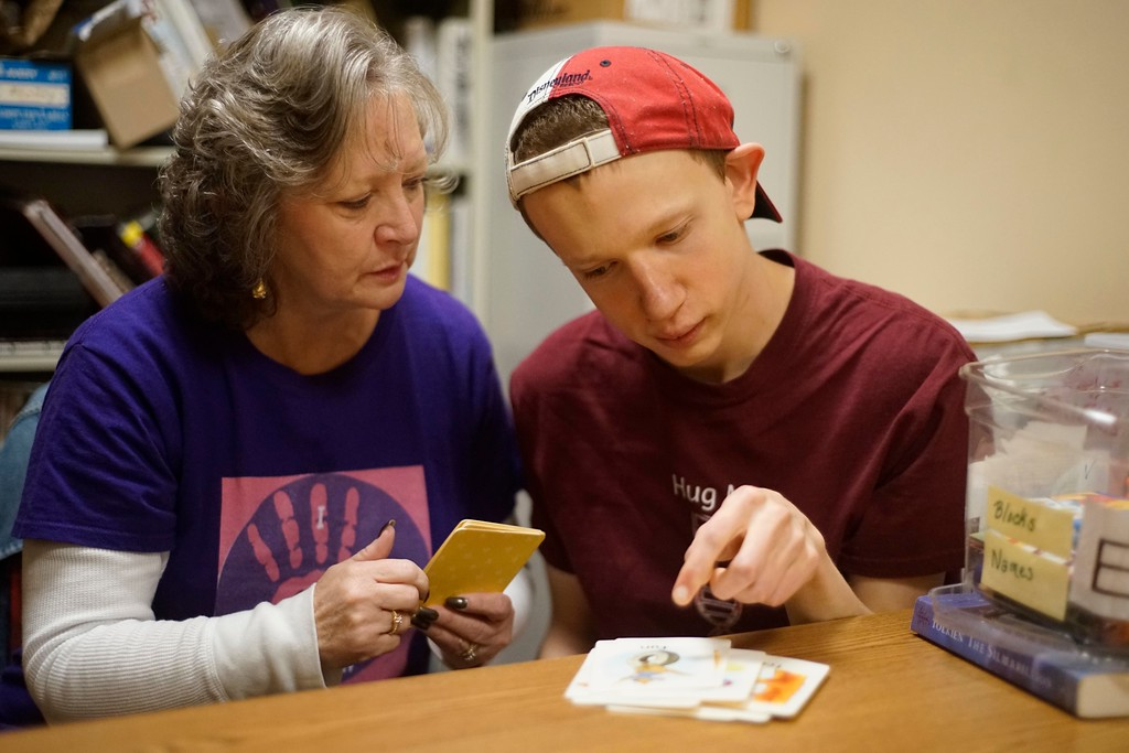 . Paraprofessional Debbie Laframboise works with Elijah McBurney on some school work.  Laframboise works one-on-one with Elijah, who has a rare degenerative brain disorder called BPAN. Thursday, October 27, 2016. Ben Garver �  The Berkshire Eagle